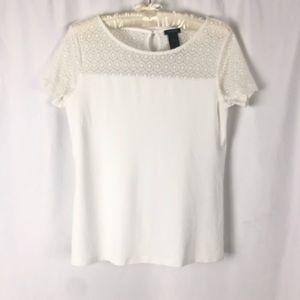 Ann Taylor Crotchet Short Sleeve Blouse S
